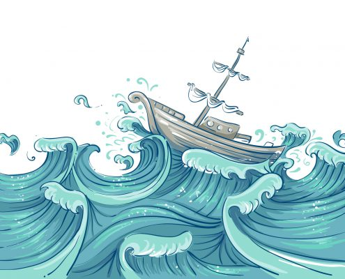 45940599 - illustration of a ship being tossed about by giant waves